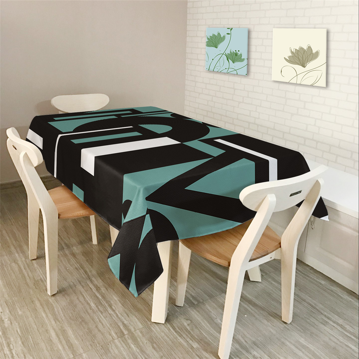 Modern Simple Rectangle Polyester Tablecloth Colorful Triangle Geometry
