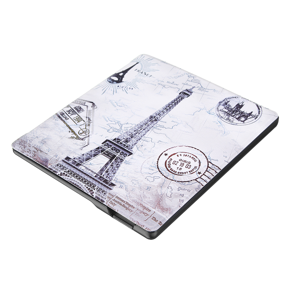 PU+PC Smart Sleep Eiffel Tower Protective Cover Case For Oasis Kindle 7 Inch Ebook Reader