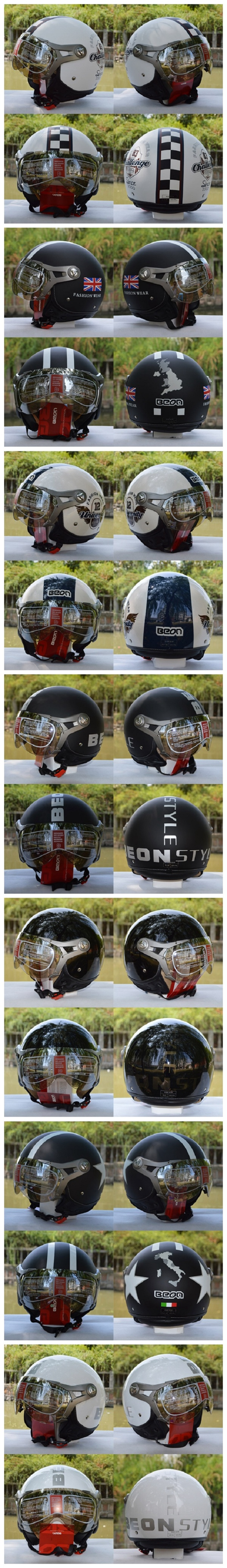 Motorcycle Air Force Half Face Helmet Jet Pilot For Harley BEON B-100