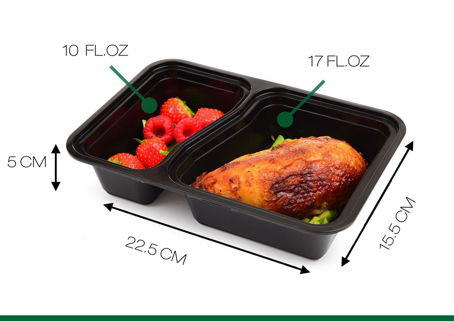 Honana CF-AT054 10 Set 2-Compartment Disposable Lunch Box Rectangle Shape Microwave Safe Food Container Lunch Tray