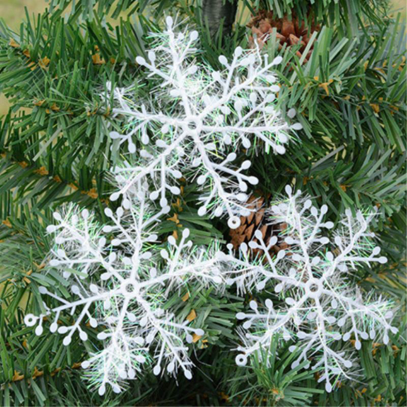 Christmas Tree Decorations 3/6pcs Snowflakes White Plastic Artificial Snow Christmas Decorations