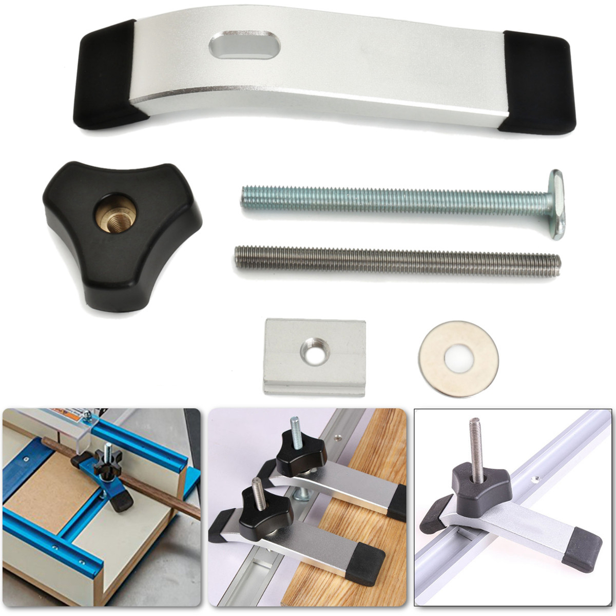 Quick Acting Hold Down Clamp T-Slot T-Track Clamp Set for Wood Working