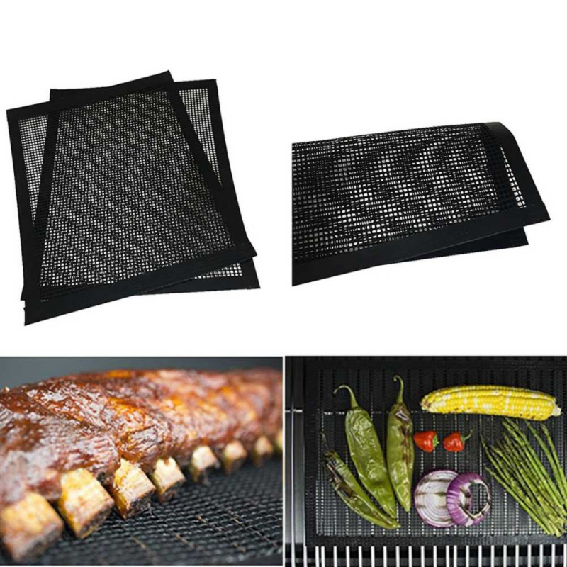 BBQ Mat BBQ Grill Mesh Teflon Non-Stick Heat Resistance Improve Thermal Conductivity Mats Use On Gas Charcoal Electric Barbecue BBQ Mat