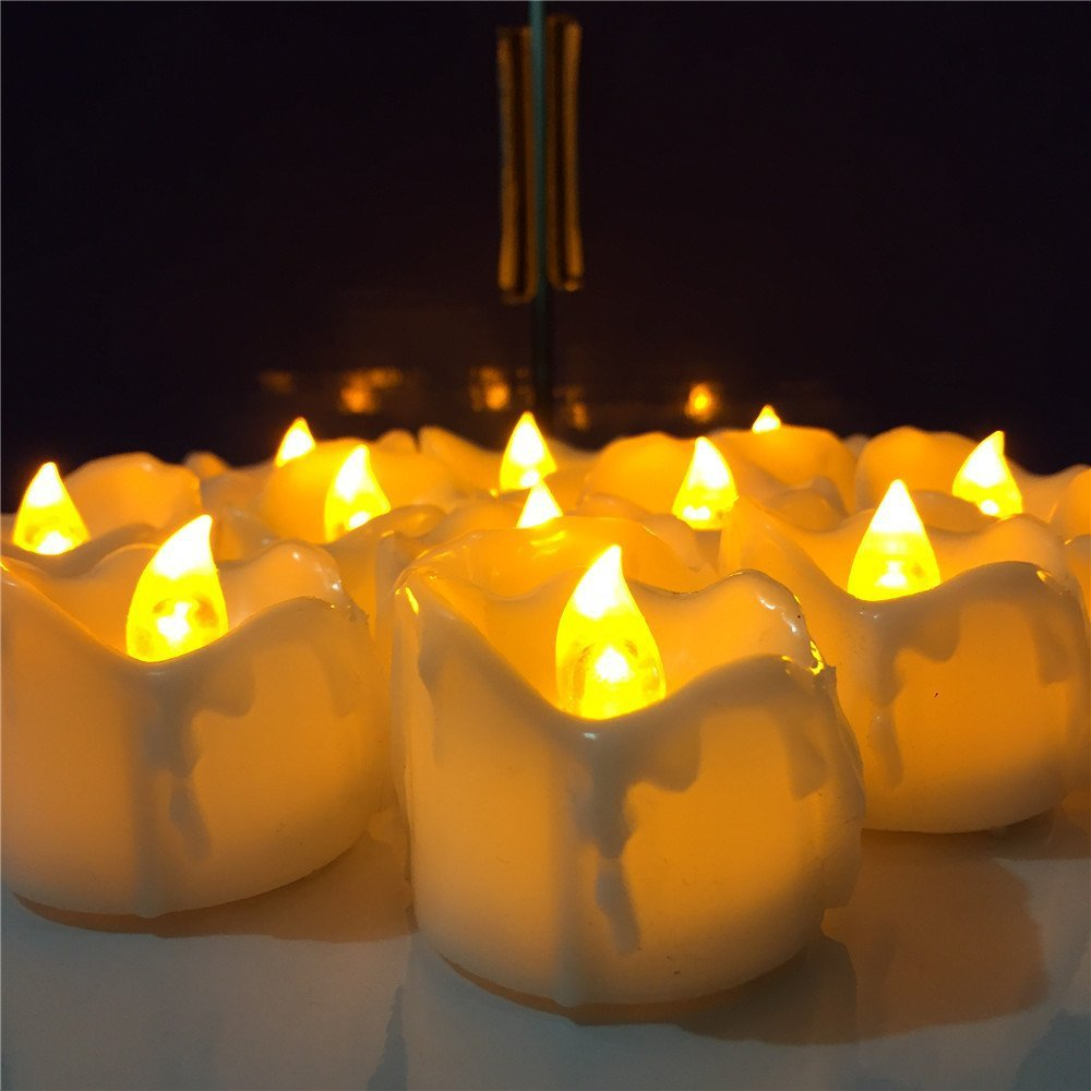 12 Pcs/Lot Led Yellow Flicker Drop Tear Candle Tealight Electronic Flameless Candle Romance Lamp Flameless Candles Tealight for Wedding Birthday