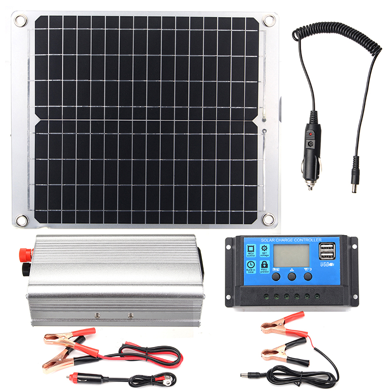 Efficient Solar Powered System 40W Dual USB Ports Solar Panel & 2000W Power Inverter & 10A Controller
