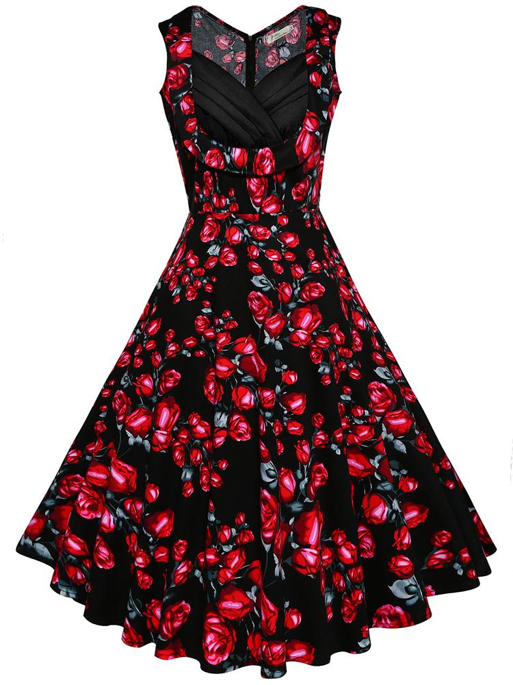 Women Sexy Floral Printed Dresses V-Neck Sleeveless Midi Dress