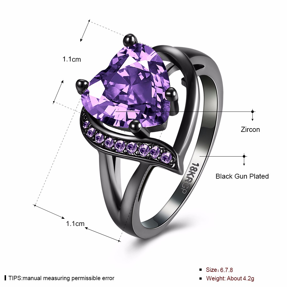 INALIS Heart Zircon Rhinestone Ring For Women