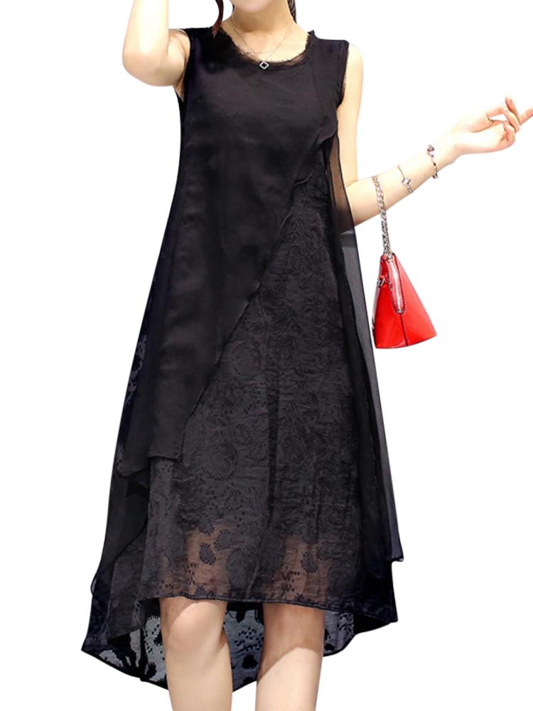 Image of Damen Sexy Ärmellos O-Ausschnitt Kleider Unregelmäßige A-Linie Kleid