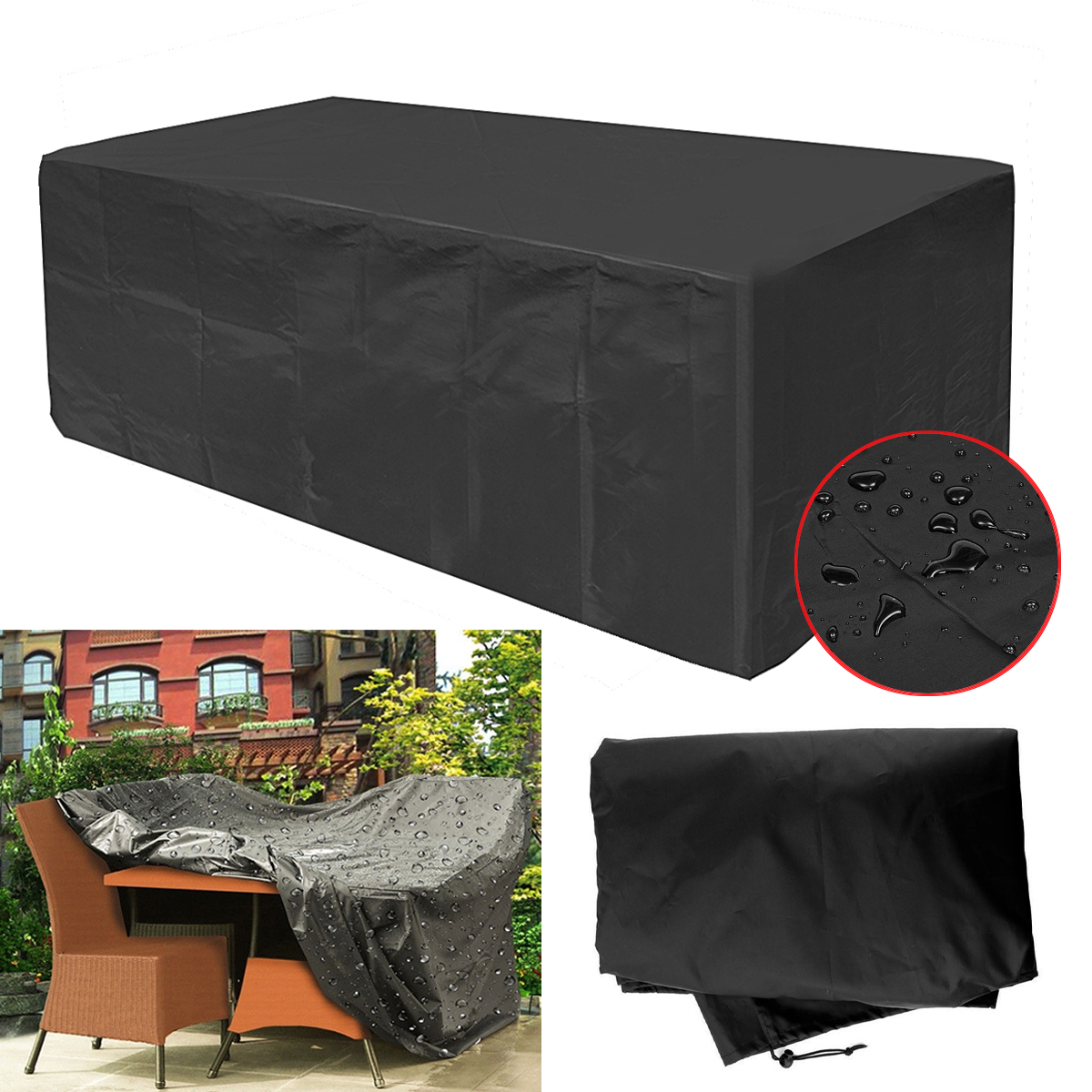 270x180x89cm Garden Patio Furniture Dust Cover Waterproof Oxford Outdoor Rattan Table Protection Camping
