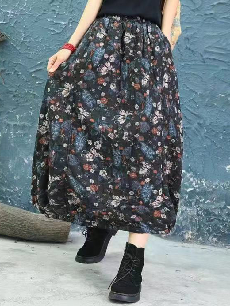 Vintage Women Floral Print Autumn Winter Baggy Skirts