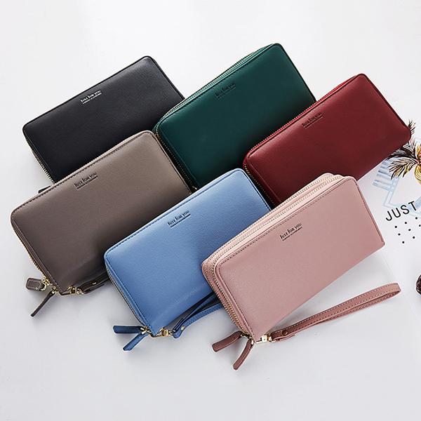 Women Pure Color Long Walllet Card Holder Phone Bag Purse