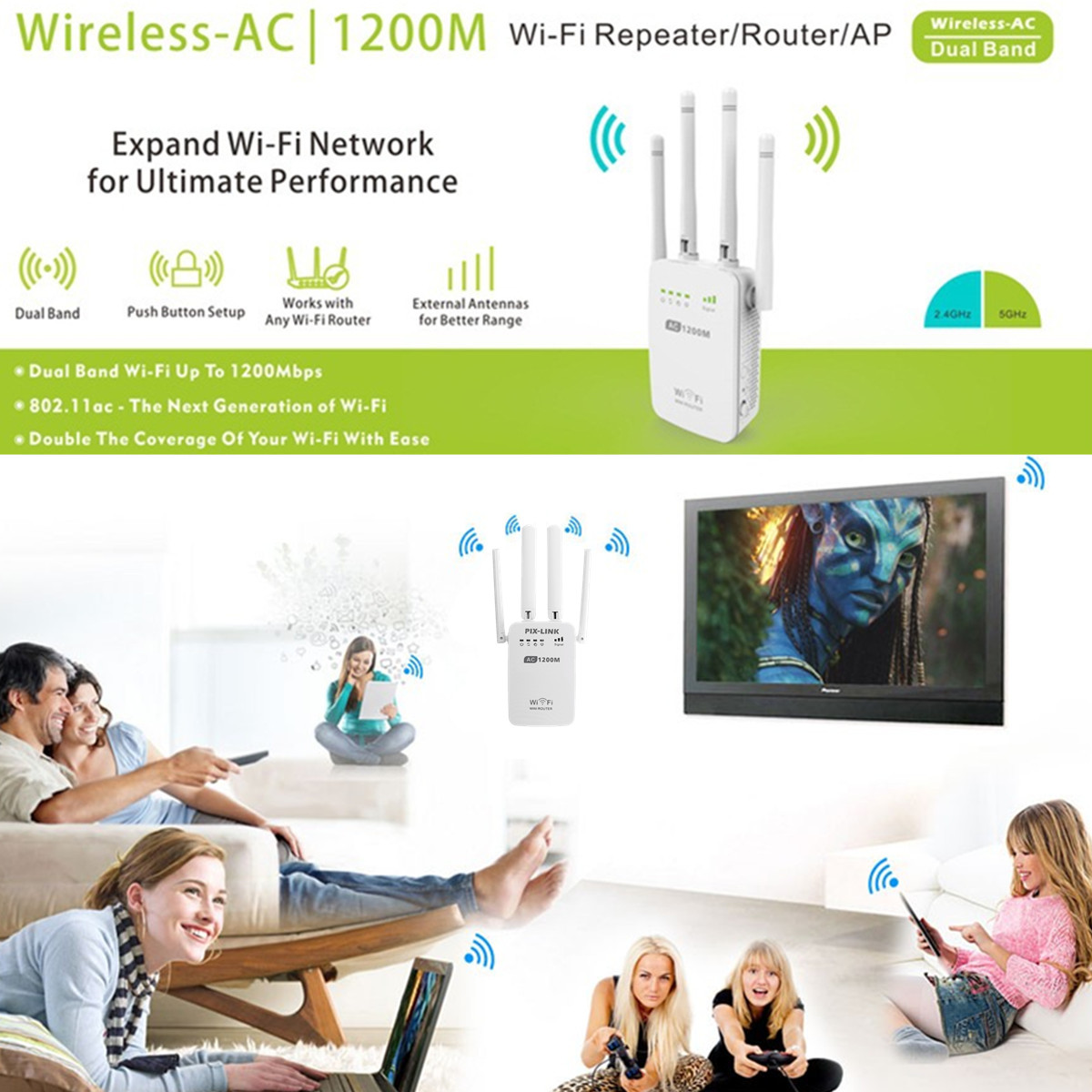 1200Mbps Dual Band 2.4G 5G Wireless WiFi Repeater Router WiFi Extender AP