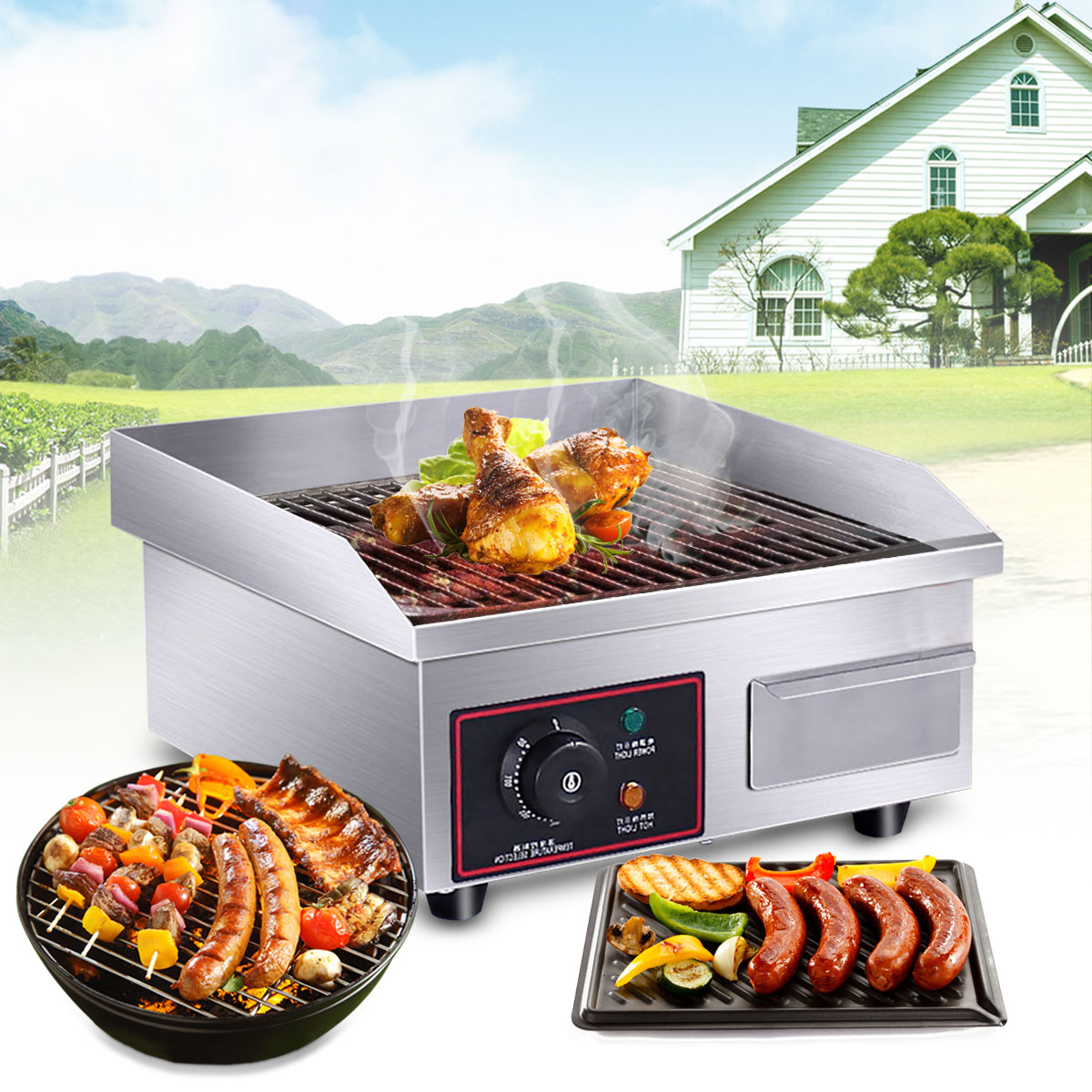 1500W 110V Electric Countertop Griddle Commercial Restaurant Flat Top Grill BBQ