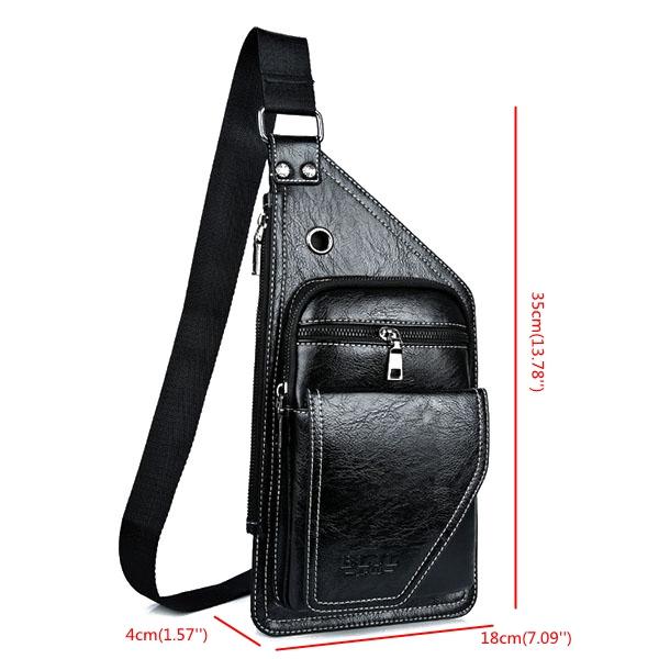 Vintage Bueiness Bag Multifunctional Shoulder Bag Waterproof Chest Bag For Men