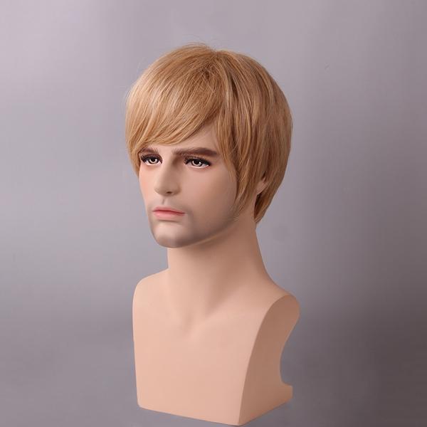 Golden Blonde Men Short Human Hair Wig Male Mono Top Virgin Remy Capless Side Bang