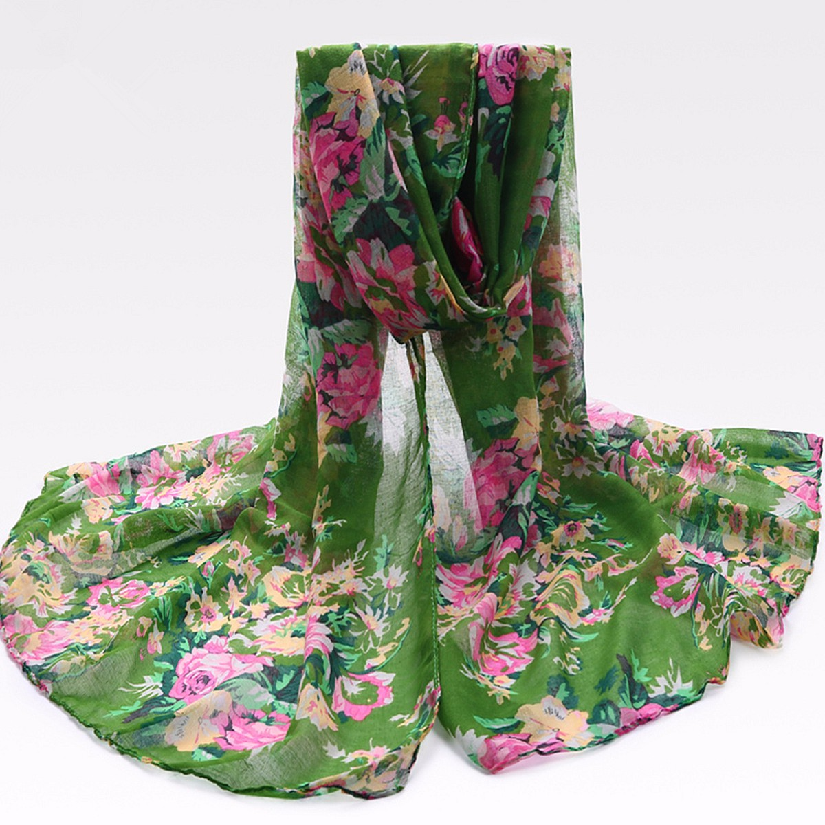 Women Ladies Peony Flower Printed Voile Scraves Floral Stole Long Soft Shawl Wrap