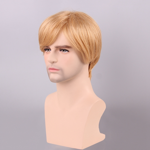 Blonde Men Short Human Hair Wig Male Mono Top Virgin Remy Capless Side Bang