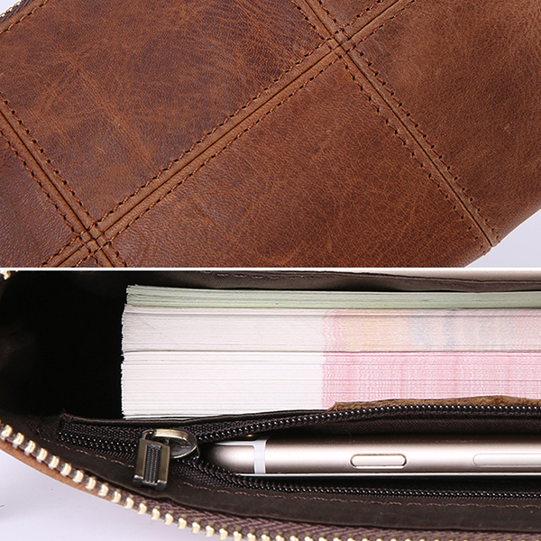 Men Genuine Leather Vintage Plaid Wallet Phone Bag