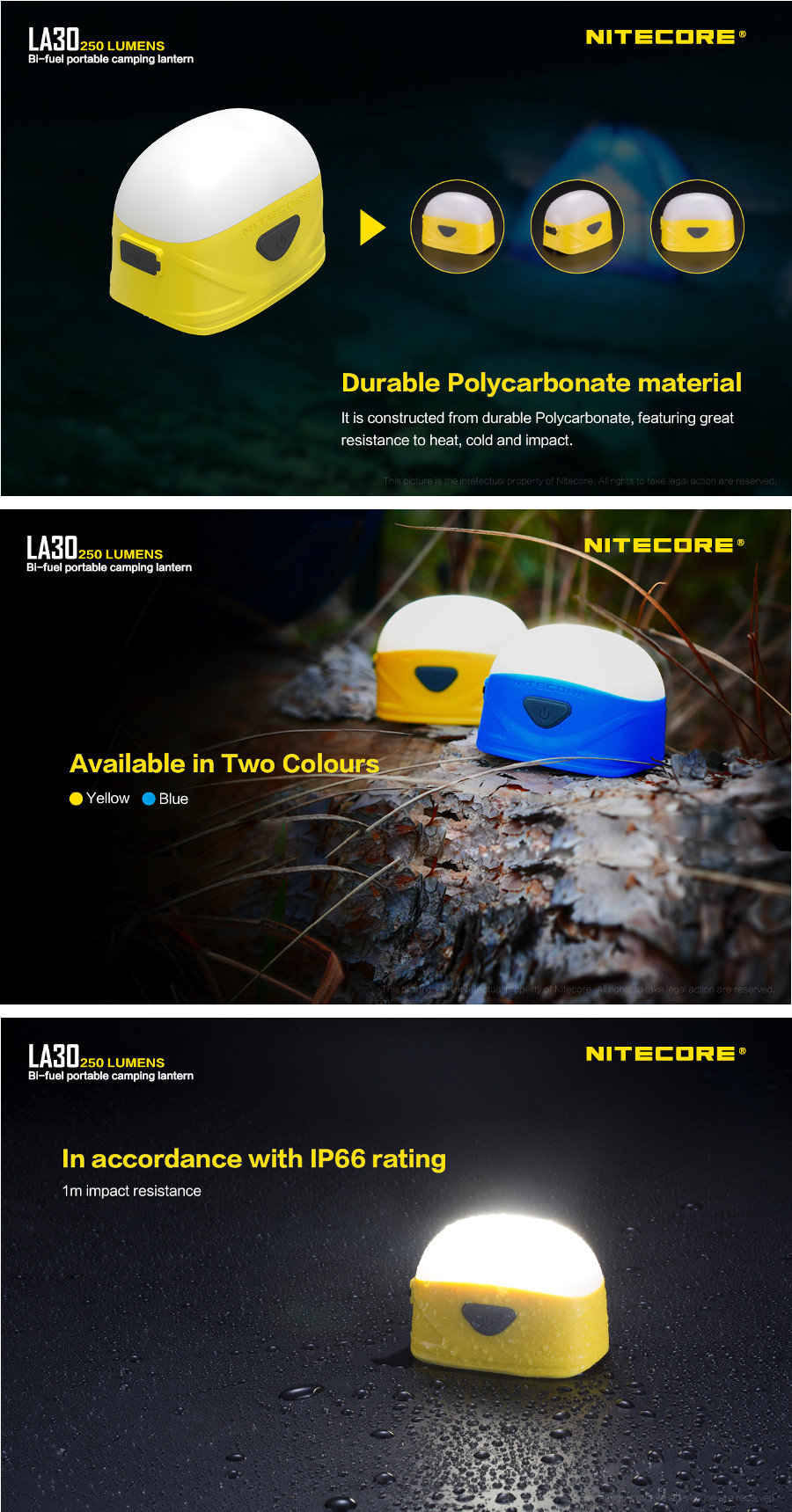 Nitecore LA30 250LM 7Modes White & Red Dimming Bi-fuel USB Mini Camping Lantern with Hanging Hole AA