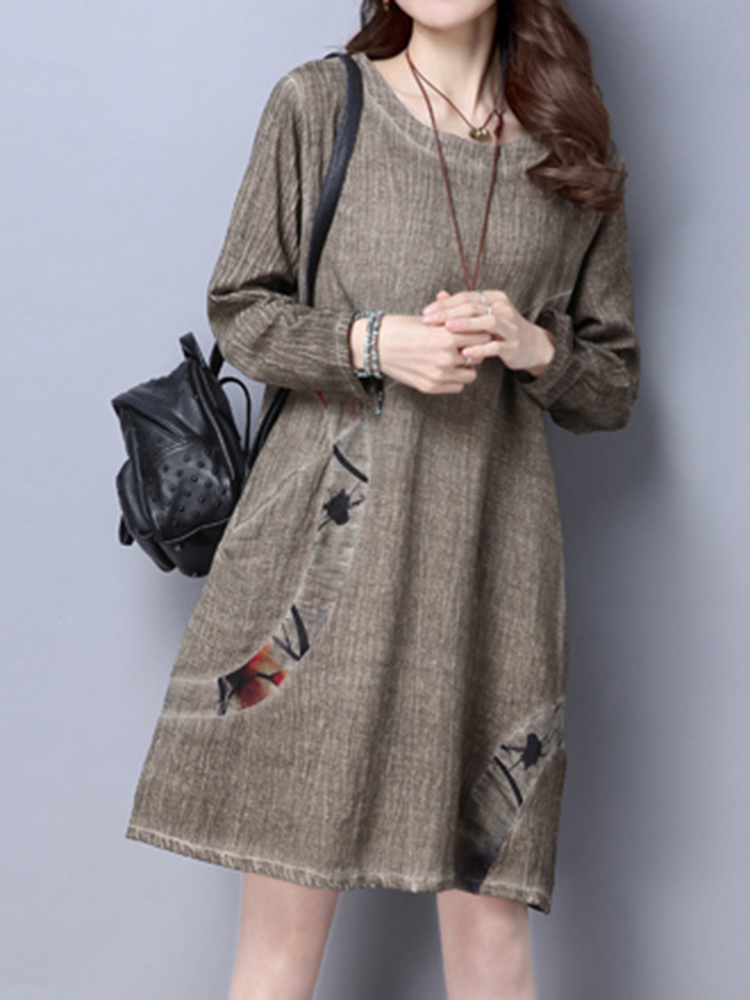 Vintage Long Sleeve Print Loose O-neck Mini Dresses For Women
