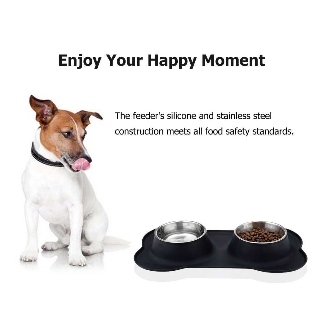 Stainless Steel Pet Bowl with Non-Skid Silicone Mat Feeder Double Bowls Set for Dogs Cats and Pets