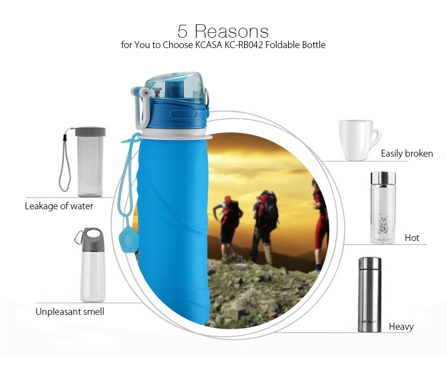 KCASA KC-RB042 750ml Collapsible Silicone Water Bottle Sport Camping Hiking Foldable BPA Free Cup