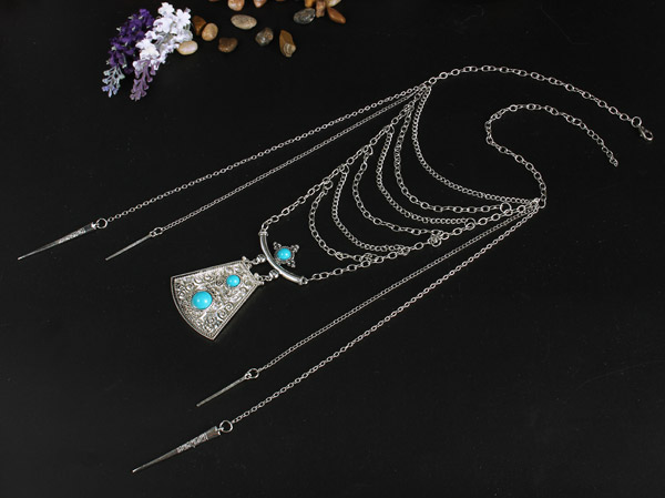 Bohemia Folk Style Shield Turquoise Pendant Multilayer Tassel Necklace Pendant For Women