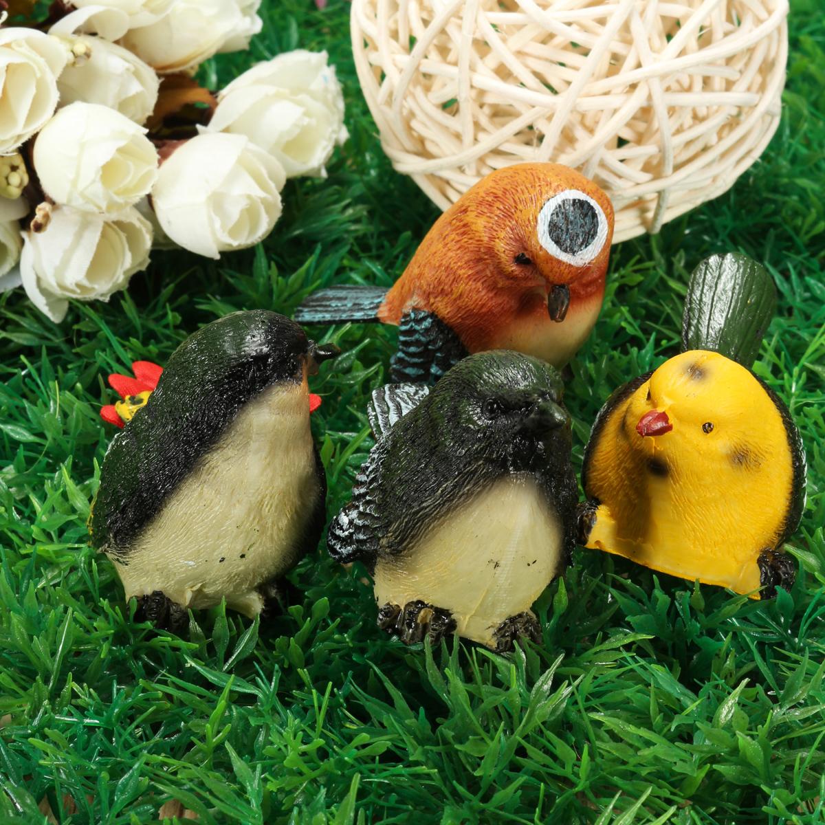 4 Pcs/Set Resin Birds Statue Figurine Home Garden DIY Bonsai Desk Decor Ornament Decorations