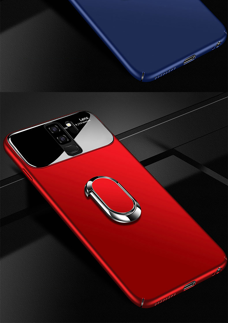 Bakeey 360º Rotation Ring Grip Kickstand Tempered Glass Lens Protection PC Protective Case For Samsung Galaxy S9/S9 Plus
