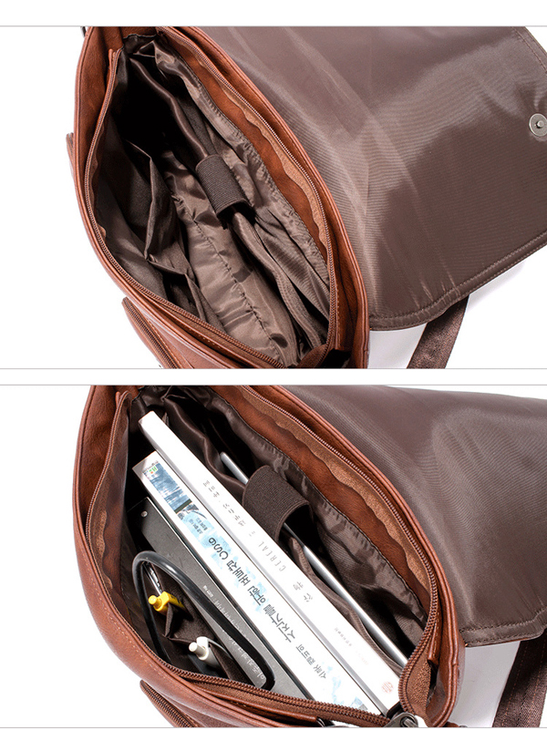 Men PU Leather Messenger Bag Large Capacity Business Shoulder Bag