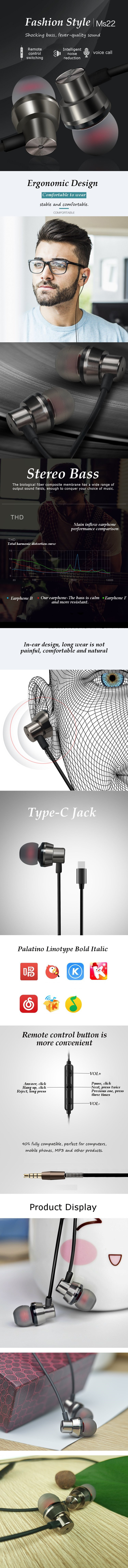 Ms22 TYPE-C In-ear Wired Control Earphone Stereo Bass Sound Noise Cancelling for Xiaomi Huawei