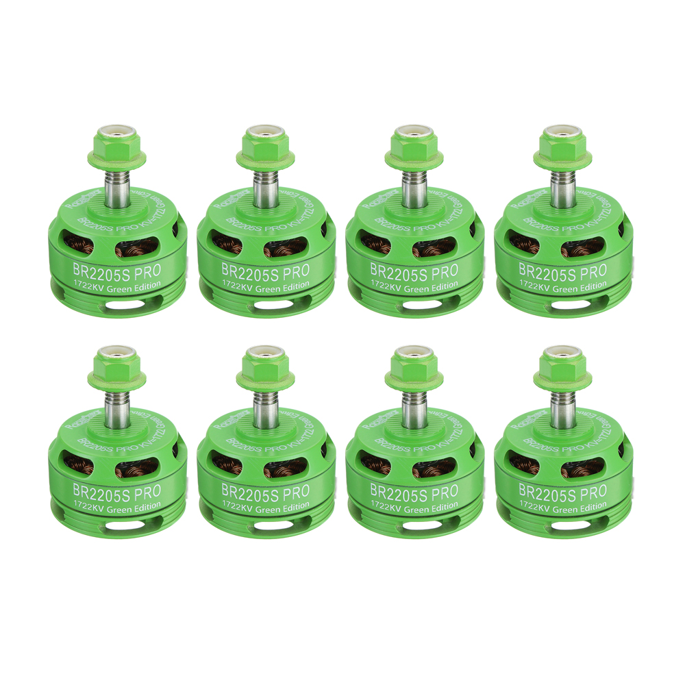 8 PCS Wholesale Racerstar 2205 BR2205S PRO Green Edition 1722KV Brushless Motor 4-6S For RC Drone