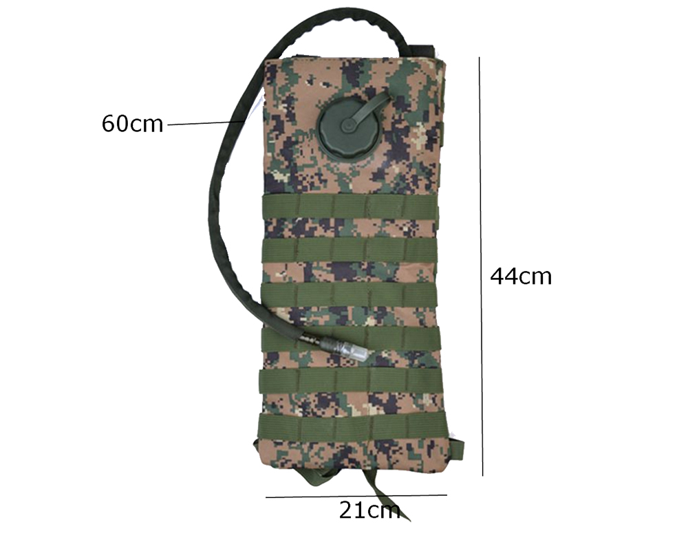 3L Outdoor Tactical Water Bag Hydration Bladder Backpack Camping Bottle Pouch Knapsack
