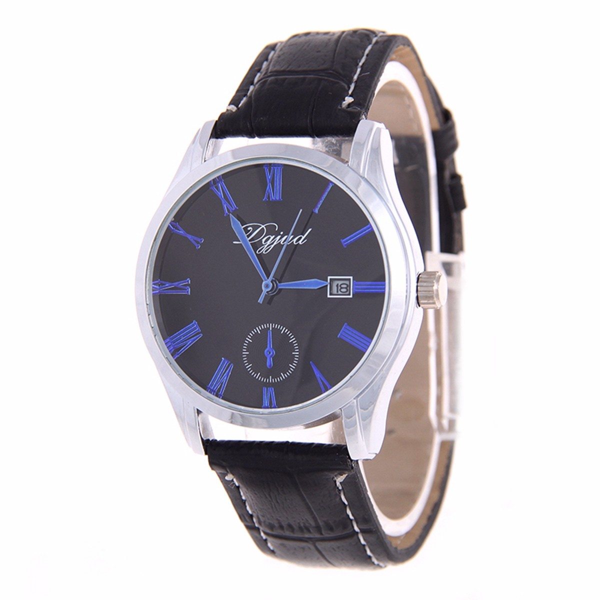 DGJUD 467 Men Women Date Pu Leather Strap Roman Numerals Classic Business Watch