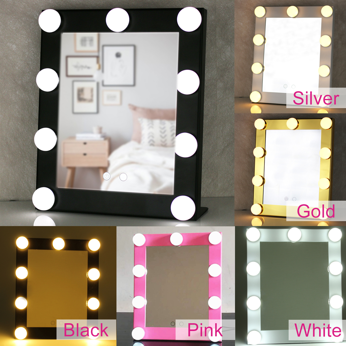 Hollywood Vanity Lighted 9 Bulbs Makeup Mirror With Dimmer Stage Beauty Touch