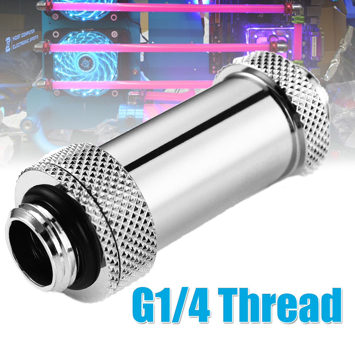 Dual G1/4″ External Thread Expansion Joint Adapter Double Male Extender Water Cooling Connector