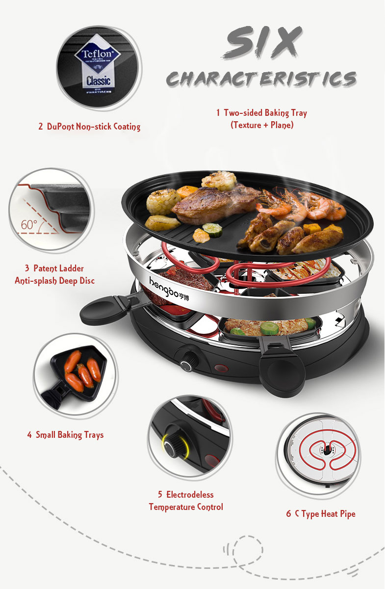 Household Multifunctional Electric OvenBBQ Grill with Barbecue Double Layers 4 Barbecue Dishes Non-Stick BBQ Pan Bakeware Skewer Barbecue Machine