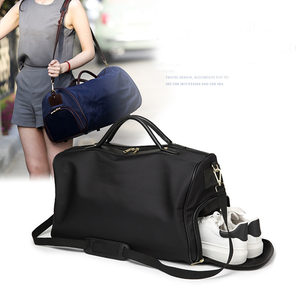 Women Nylon Travel Bag Sport Gym Weekender Duffle Bag with Shoes Compartment