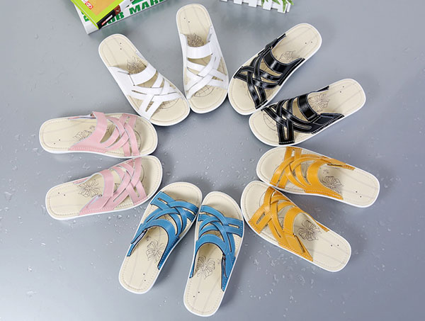 Open Toe Casual Beach Leather Slipper Outdoor Flat Sandals