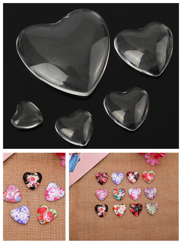 10Pcs Heart Shape Clear Glass Cabochon Dome DIY Accessories