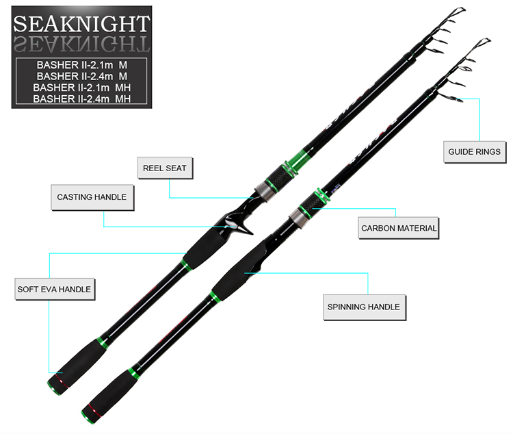 SeaKnight BASHER II M /MH 2.1M 2.4M Carbon Telescopic Casting Fishing Rod 5 Section Sea Fishing Pole