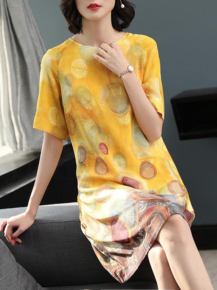 Summer Floral Print Loose Short Sleeve Dress