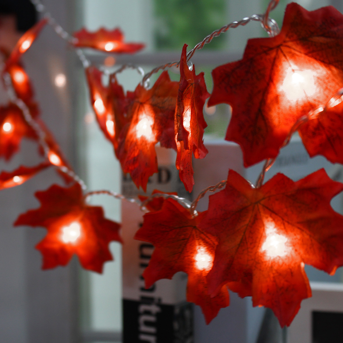 Battery Powered 2.3M 20LEDs Warm White Pure White Fall Leaves Indoor Fairy String Light for Party