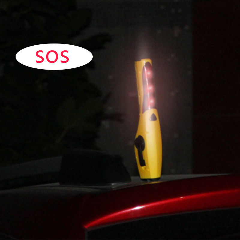 6 In1 Emergency Car Hammer Seat Belt Cutter Window Breaker LED Warning Auto Escape Safety Tool