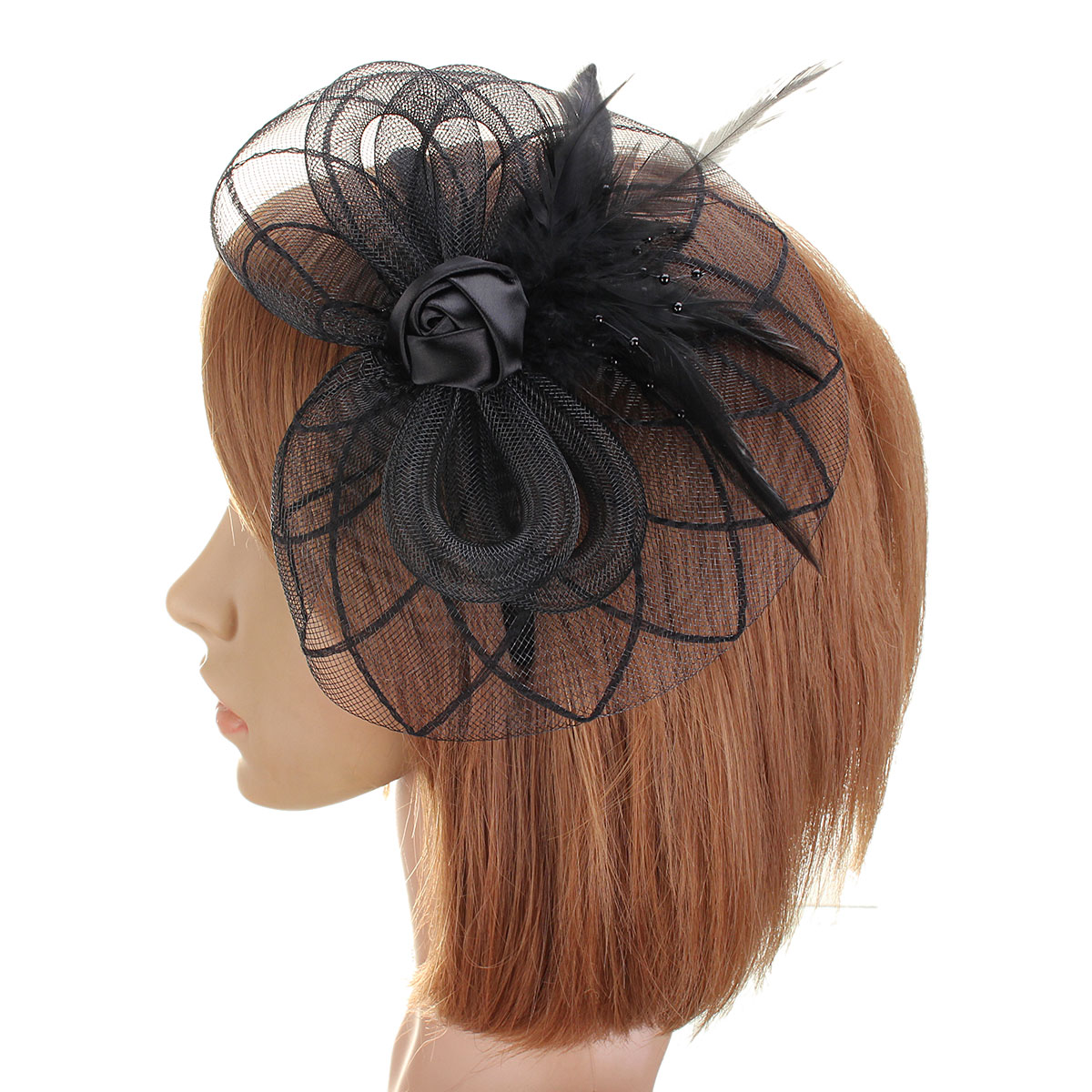 Bride Women Flower Rose Feather Bead Mesh Fascinator Wedding Cocktail Party Headpieces