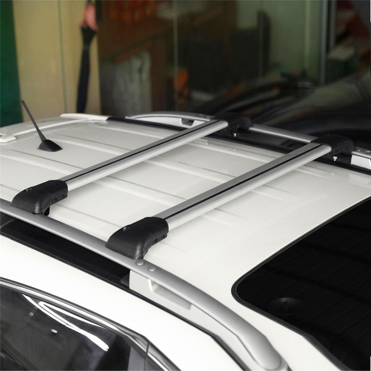 2Pcs 93-99cm Car Top Rail Roof Rack Cross Bar Luggage Carrier for Raised Rail Universal