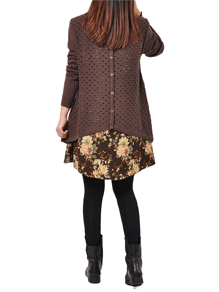 Vintage Loose Women Printed Long Sleeve Two-Piece Knitted Sweater Dress