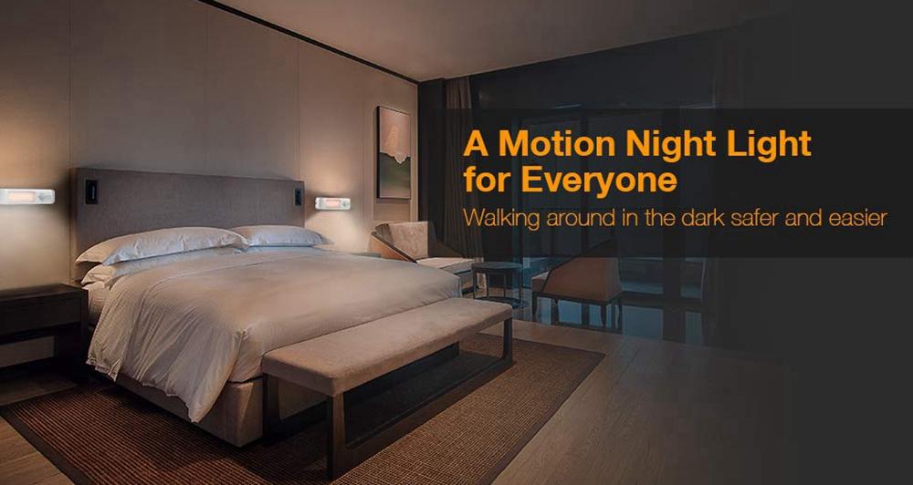 LUSTREON Wireless Smart PIR Motion Sensor LED Cabinet Night Light Battery Powered for Bedroom Stair