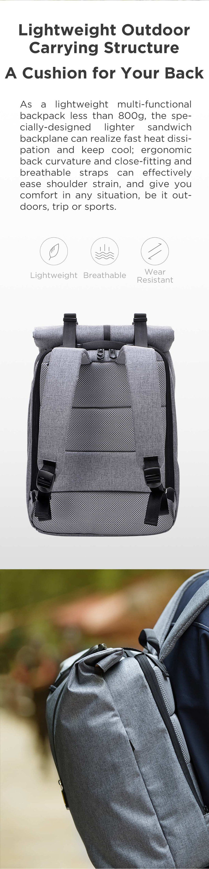 Xiaomi 90FUN Leisure Daypack 14inch Laptop Bag Men Women Waterproof Backpack