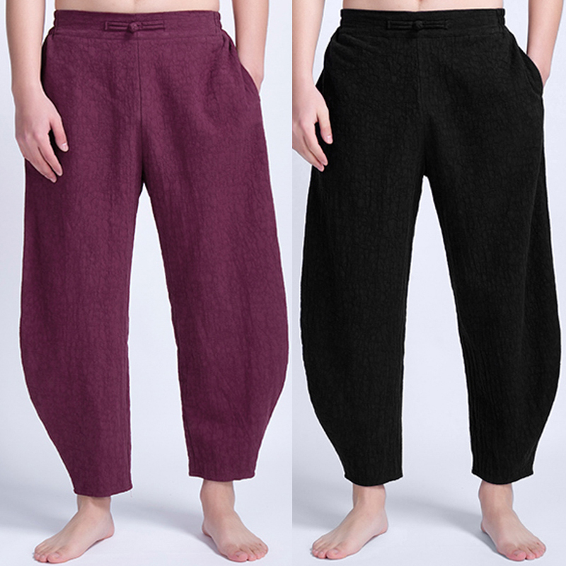 Mens Vintage Ethnic Style Casual Comfy Loose Cotton Pants